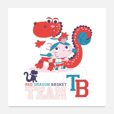 Baby Girl red dragon basket team baby girl - Poster