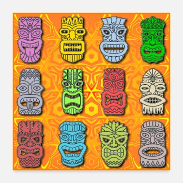 Mythology Colorful Polynesian - Hawaiian Tiki Statues - Poster 24x24