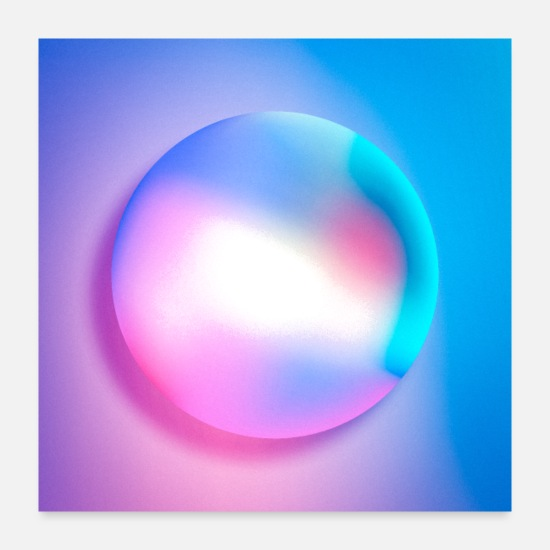 Abstract Posters - Pink Blue Iridescent Gradients - Posters white