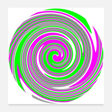 Psychedelic Pink and green swirl pattern - Poster