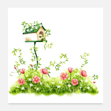 Image Image: Watercolor, Plants and birdhouse - Poster