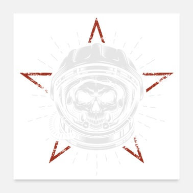 Super Space Astronaut Skull Head - Poster 24x24