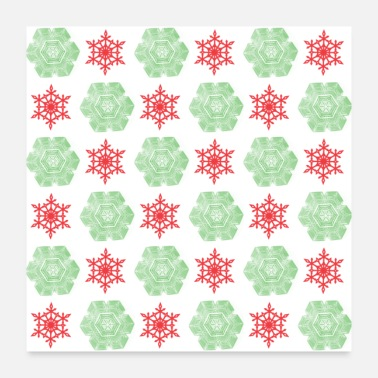 Christmas Collection Red and green snowflakes pattern - Poster
