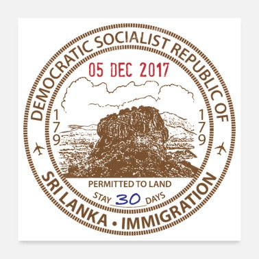 Stamp Sri Lanka Passport Stamp - Poster 24x24