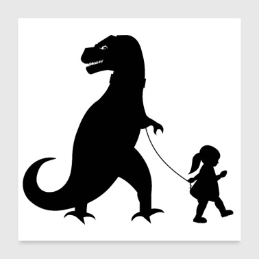 Girl girl with dinosaur - Poster 24x24