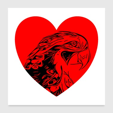 I Heart Parrots with heart - Poster 24x24