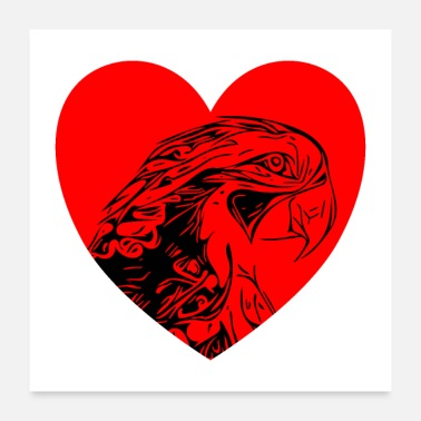 South America Parrots with heart - Poster 24x24