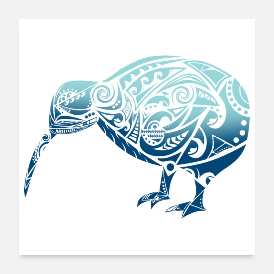 Travel Posters - Maori Kiwi Bird Blue - Gift Idea - Posters white