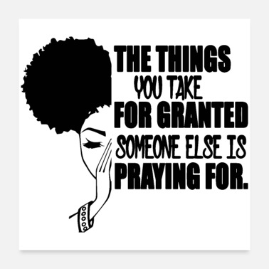 Afro woman praying God diva queen classy glamour - Poster 24x24