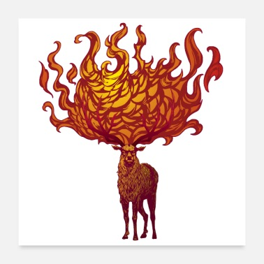 Stag Flaming Stag (Red) - Poster 24x24