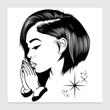 people praying pretty hairstyle copy - Poster 24x24