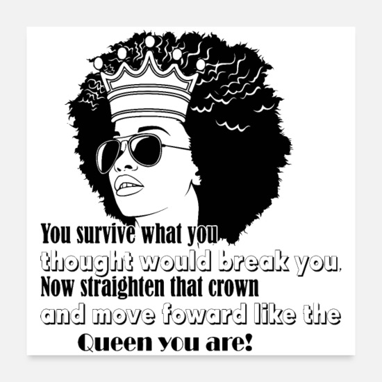 Natural Posters - Afro Woman Black Hair Style Natural Confident - Posters white
