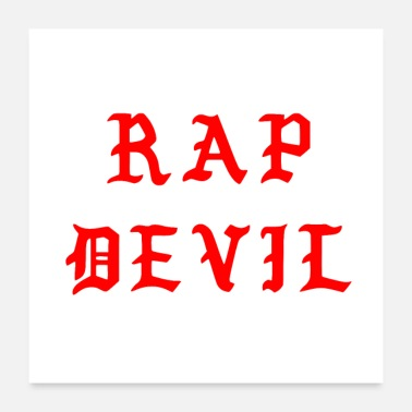 Gothic Minimal Halloween Dark Red Gothic Rap Devil - Poster