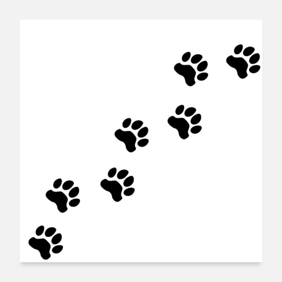 Owner Posters - Dog tracks, dog footprint, dog paw, dog, doggy - Posters white