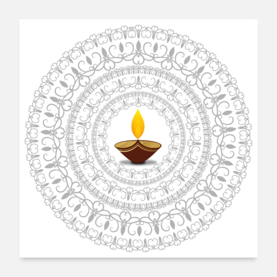 Greeting Posters - Diwali light Mandala - Gift Idea - Posters white