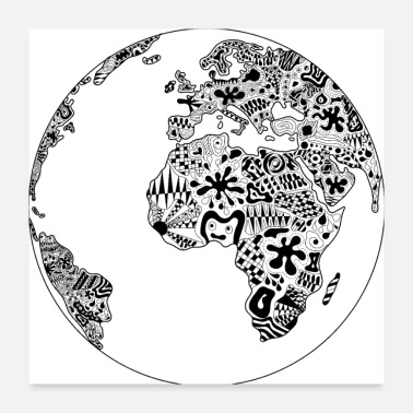 Ornament world planet black ornaments psychedelic gift idea - Poster