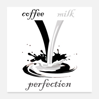 Milk black and white coffee and milk - Poster 24x24