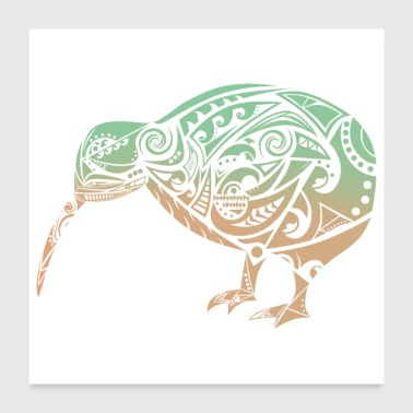 Maori Kiwi Bird Green Orange - Gift Idea - Poster 24x24