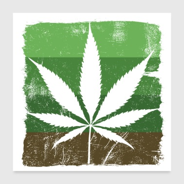 Leaf Cannabis leaf Sativa green scratched - Poster 24x24