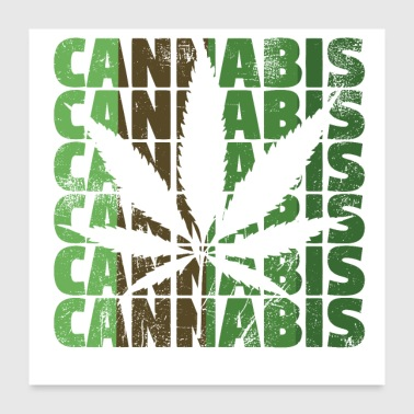 Leaf Cannabis hemp leaf scratched - Poster 24x24