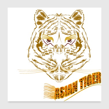 Asian Symmetrical Asian Tiger Poster - Poster 24x24