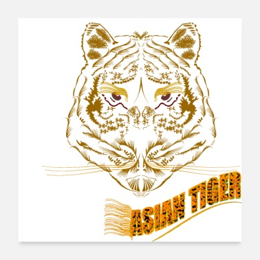 Creative Symmetrical Asian Tiger Poster - Poster 24x24