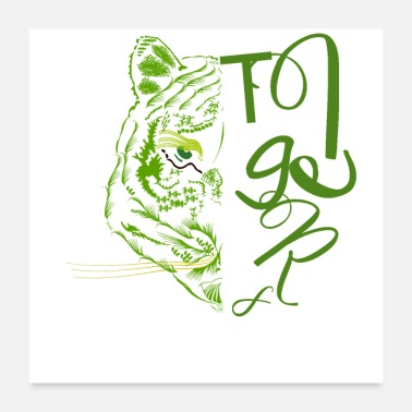 Tiger Shark Symmetrical tiger in green concept - Poster