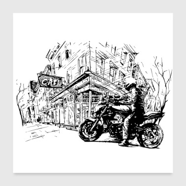 Old Art, biker in old town - Poster 24x24