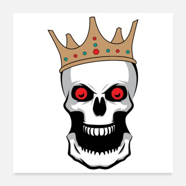 Mouth Halloween King of Skeletons Crown big mouth Scary - Poster 24x24
