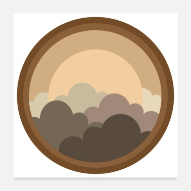 Windows Flat Design - Sunset Out Of Round Window Gift Idea - Poster