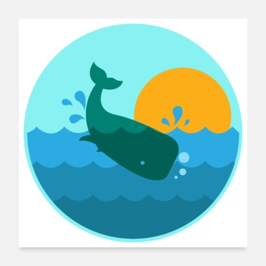 Cruise Whale Jump Sunrise Ocean Window - Gift Idea - Poster