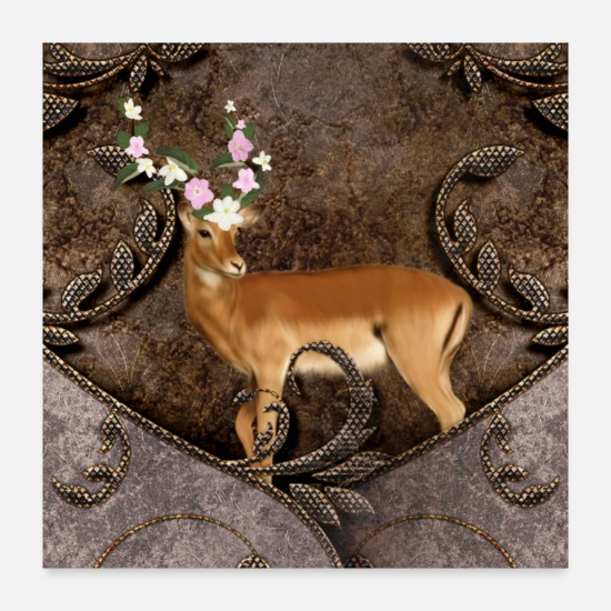 Animal Posters - Wondeful antelope with flowers - Posters white