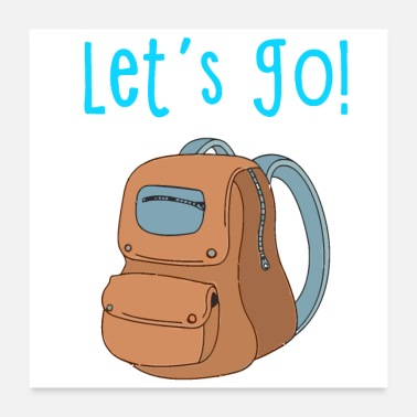 Vacation Country Let's Go Typography with Backpack - Poster
