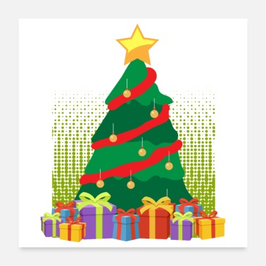 Present Merry Christmas Christmas Tree Presents- Gift Idea - Poster 24x24