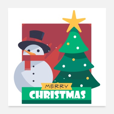 Snowman Merry Chrstimas Snowman Christmas Tree - Gift Idea - Poster 24x24