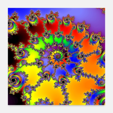 Mathematics Colorful Julia Set Fractal Spiral - Poster 24x24