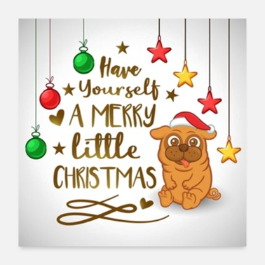 Merry Merry Little Christmas Pug - Poster 24x24