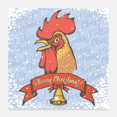 Christmas Collection Merry Christmas Rooster - Poster