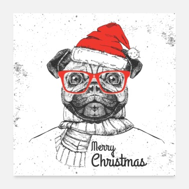 Merry Merry Christmas Hipster Pug - Poster 24x24