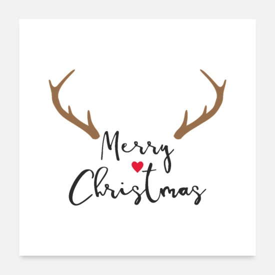 Christmas Posters - Merry Christmas Red Nose Reindeer Antler Deco - Posters white