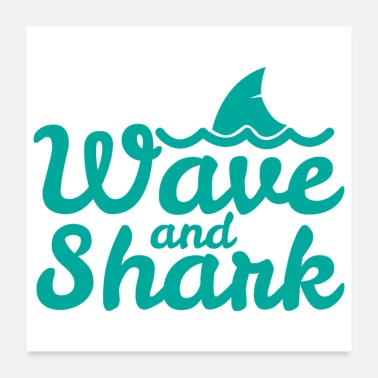 Irony Surf - Wave and Shark - Gift Idea - Poster