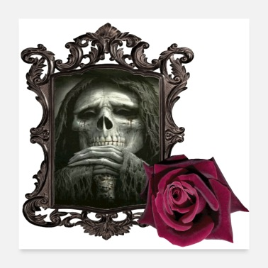 Frame Evil is framed and highlighted with a rose. - Poster 24x24