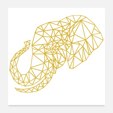 Summer Low Poly Art Elephant gold - Gift Idea - Poster 24x24