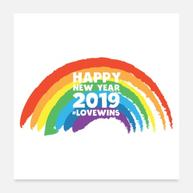 Pride Happy New Year 2019 LGBT Gay Lesbian Pride Rainbow - Poster 24x24