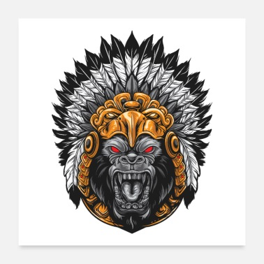 Headdress Gorilla Aztec Headdress - Poster