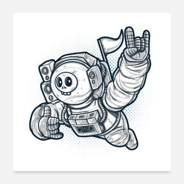 Swing Skull Astronaut in Space Fly - Poster