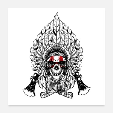 Dapper Indian Native Skull with two axes - Poster