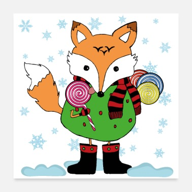 Advent Fox with lollipops - Poster 24x24