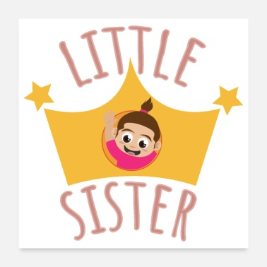 Pregnant Little Sister waving out of Crown - Gift Idea - Poster