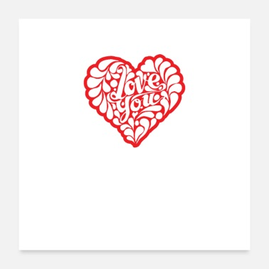 Love Heart Red Love You Heart Quote - Poster